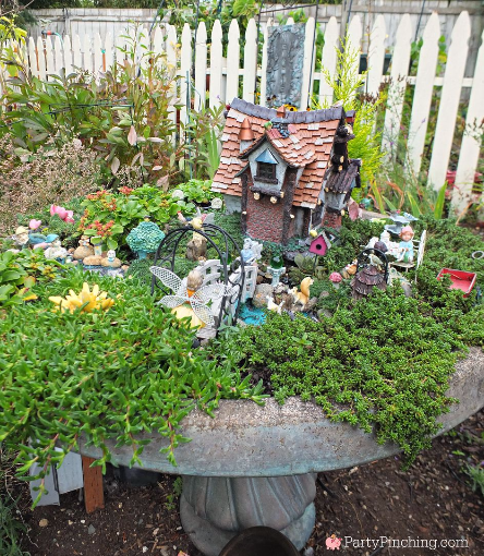 birdbath fairy garden ideas, theme fairy garden