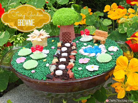 Fairy Garden Brownie, fairy garden party ideas, fairy party, cute fairy party ideas for kids, edible crafting