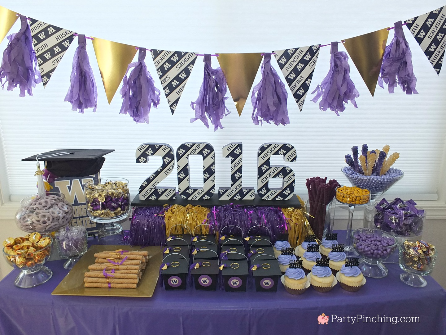 Graduation Party Ideas 2020, college graduation party, college graduation dessert table, college grad candy buffet, purple and gold candy buffet, University of Washington, UW Huskies, UDub