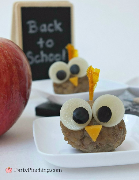 Farm Rich, Farm Rich meatballs, fun food, back to school snacks, cute food for kids, owl meatballs, cute appetizers