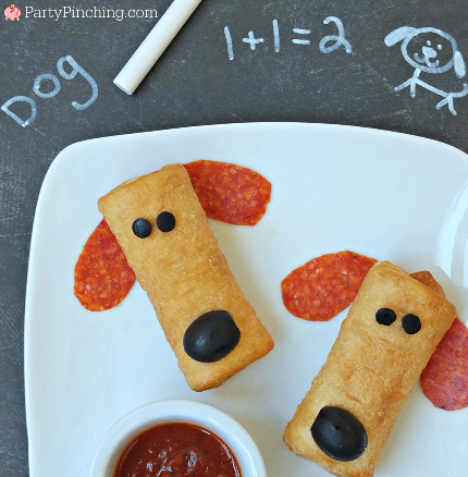 Farm Rich, Farm Rich Pizza Roll-ups, cute food, Pup-eroni snack, Puppy snack, dog snack, fun food for kids, play with your food, back to school snack and lunch ideas