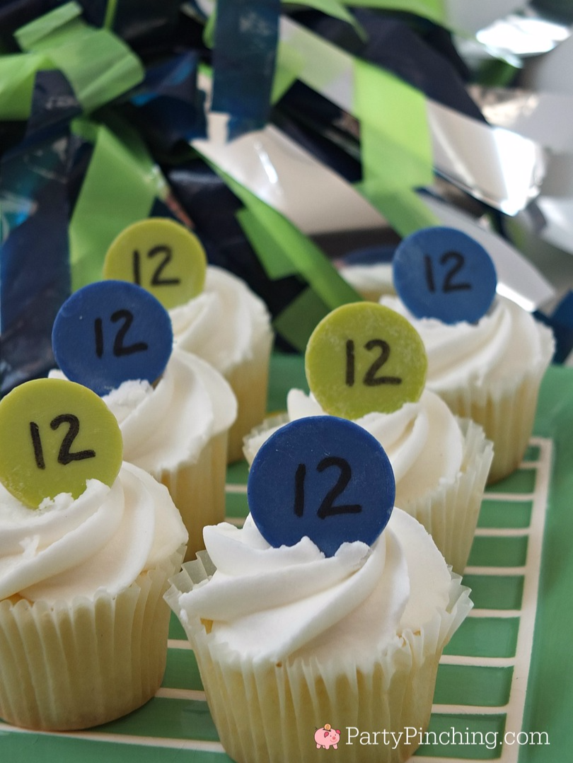 Super bowl cupcakes, wilton candy melts, 12th man cupcakes, Seattle Seahawks cupcakes, easy football dessert cupcakes