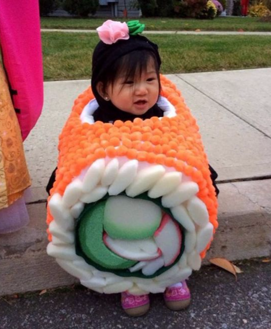 DIY sushi costume for baby and kids, Best Halloween costumes for kids, DIY kids costumes, easy kids costumes to make, adorable and cute Halloween costumes for toddlers and infants, Halloween party ideas