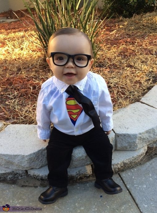 Best Halloween costumes for kids, DIY kids costumes, easy kids costumes to make, adorable and cute Halloween costumes for toddlers and infants, Halloween party ideas, PartyPinching.com , Clark Kent baby costume