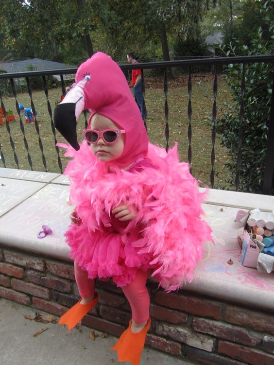 Kid's Pink Flamingo costume, Best Halloween costumes for kids, DIY kids costumes, easy kids costumes to make, adorable and cute Halloween costumes for toddlers and infants, Halloween party ideas