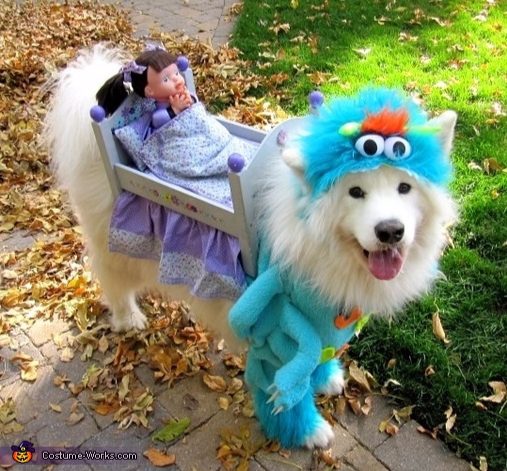 monster under the bed costume for dog, Monsters Inc. movie costume pet costume, PartyPinching.com, Best Halloween costumes for kids, DIY kids costumes, easy kids costumes to make, adorable and cute Halloween costumes for toddlers and infants, Halloween pa