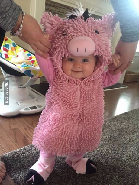 Pig costume for kids, baby, toddler. Cute Halloween costume ideas, adorable pig costume.