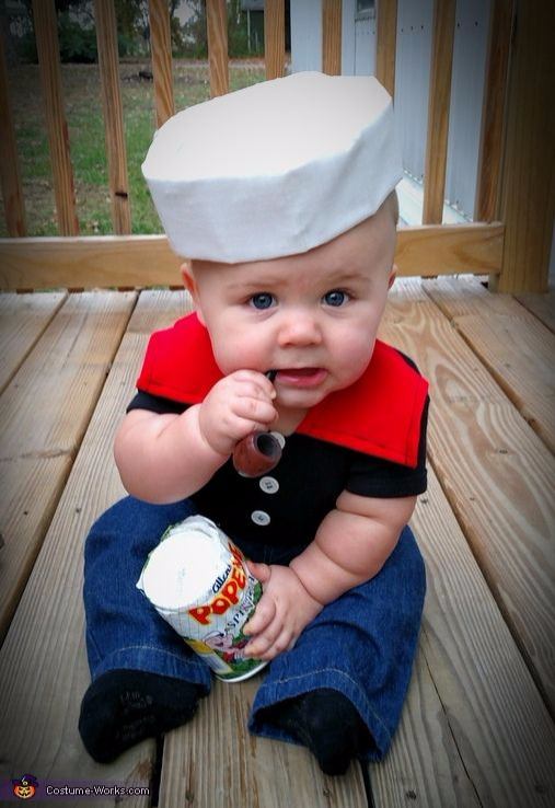 Kid's crazy Popeye baby costume, funny costume,Best Halloween costumes for kids, DIY kids costumes, easy kids costumes to make, adorable and cute Halloween costumes for toddlers and infants, Halloween party ideas