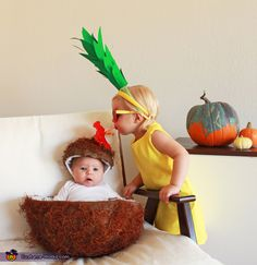 Pina Colada costume, Best Halloween costumes for kids, DIY kids costumes, easy kids costumes to make, adorable and cute Halloween costumes for toddlers and infants, Halloween party ideas, coconut pineapple costume