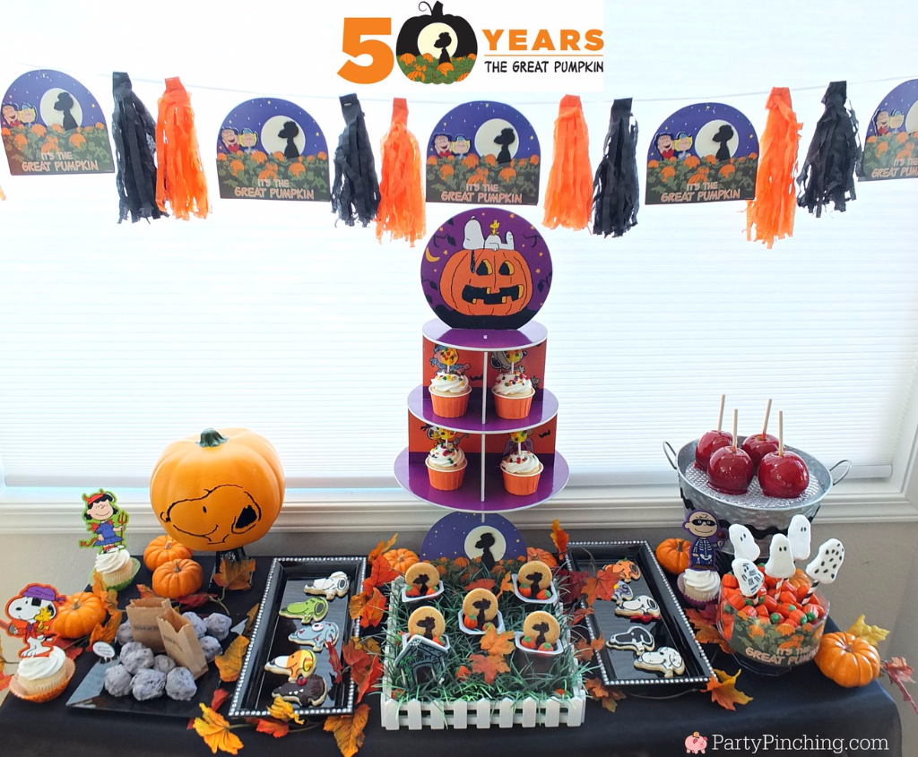 Great Pumpkin Charlie Brown, Halloween party ideas, , Snoopy, Linus, Lucy, 50th Anniversary Great Pumpkin, Great Pumpkin pudding cups, Beagle flying ace, Snoopy cookies