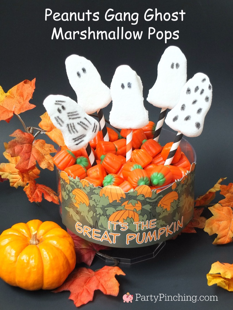 Great Pumpkin Charlie Brown, Halloween party ideas, , Snoopy, Linus, Lucy, 50th Anniversary Great Pumpkin, Great Pumpkin pudding cups, Beagle flying ace, Snoopy cookies, trick or treater ghost marshmallow pops