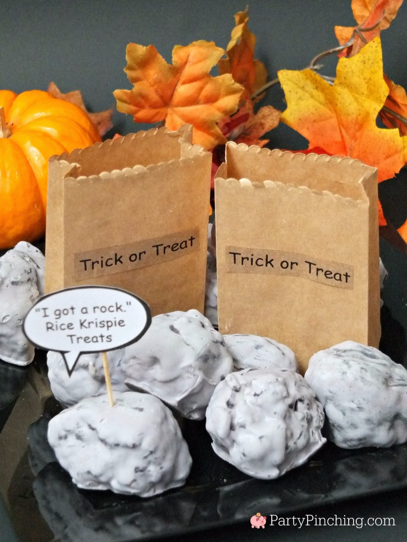 Great Pumpkin Charlie Brown, Halloween party ideas, , Snoopy, Linus, Lucy, 50th Anniversary Great Pumpkin, I got a rock Charlie Brown, Rock rice Krispie Treats,