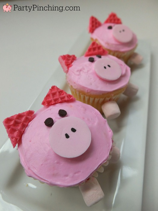 Cute Pig Cupcakes Easy To Make With Pink Wafer Cookies Fun