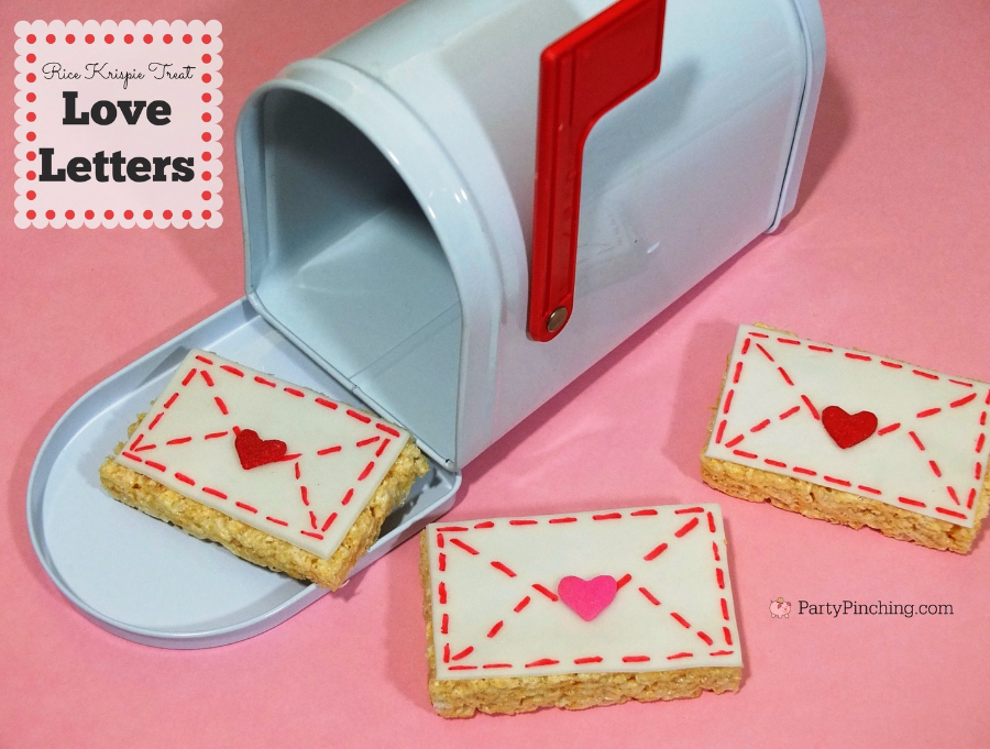 St Valentines Day rice krispie treat heart love letters